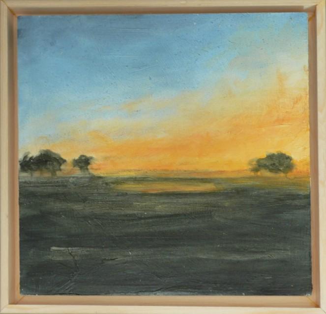 Landscape Morning Fog Oil Sketch 6x6