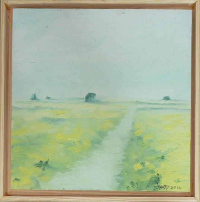 Ireland Landscape Green Oil Sketch 6x6