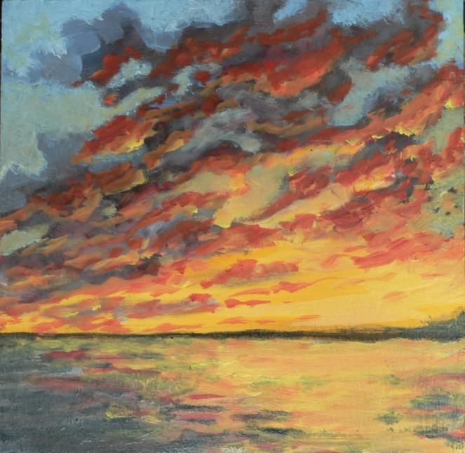 seascape  sunset oilsketch 6x6